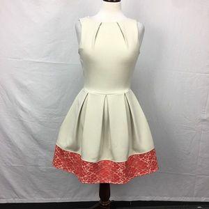 Closet Tan/Coral Pleat Lace Trim Dress